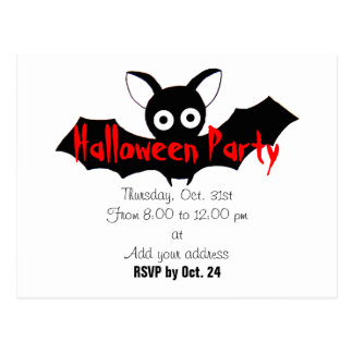 Bat Halloween Party Invitation Postcard