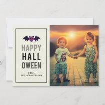 Bat Happy Halloween Minimal Monochrome Holiday Card