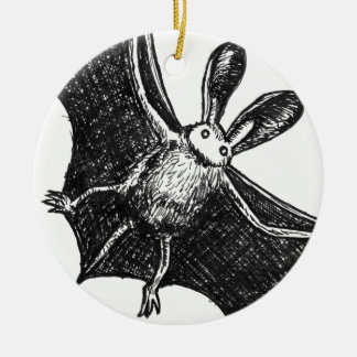 Bat illustration ceramic ornament