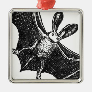 Bat illustration metal ornament