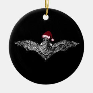 Bat In A Santa Hat Ceramic Ornament
