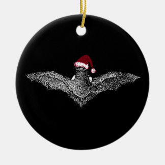 Bat In A Santa Hat Double-Sided Ceramic Round Christmas Ornament