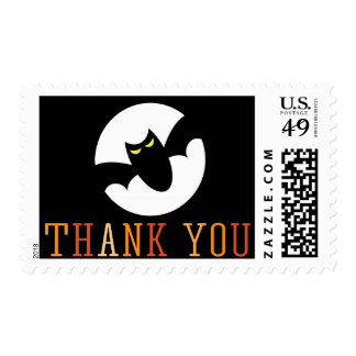 Bat in front of full moon cute Thank you Halloween Postage
