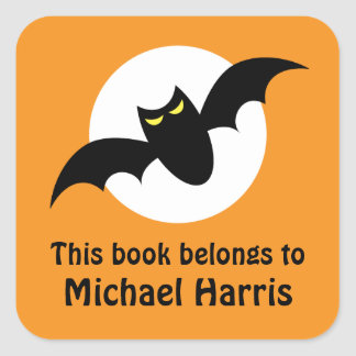 Bat in front of full moon orange bookplate book square sticker
