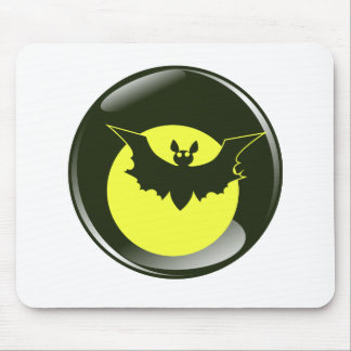 Bat in front of yellow moon mouse pad