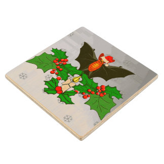 Bat In The Holly Maple Wood Coaster