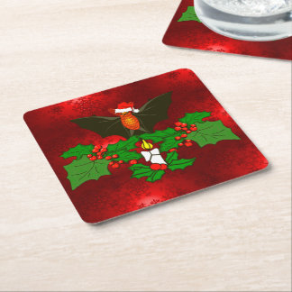 Bat In The Holly Square Paper Coaster