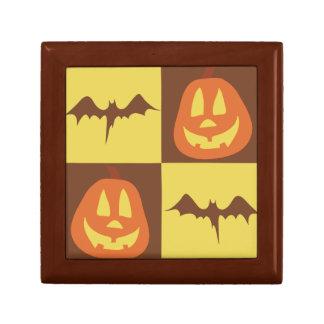 Bat Jack O' Lantern Checkered Pattern Trinket Boxes