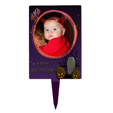 Halloween Themed Bat, Jack o' Lanterns, Tombstone, Add Photo Frame Cake Topper