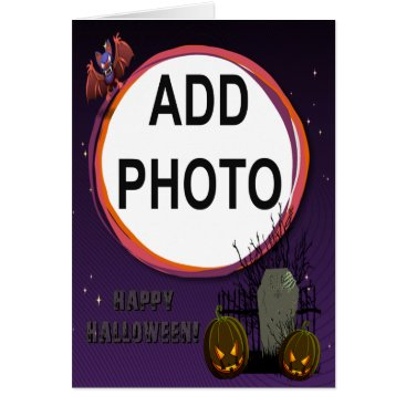 Halloween Themed Bat, Jack o' Lanterns, Tombstone, Add Photo Frame Card