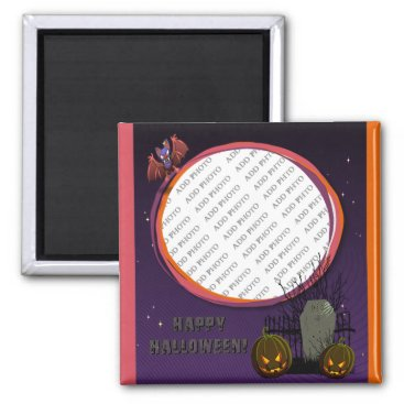 Halloween Themed Bat, Jack o' Lanterns, Tombstone, Add Photo Frame Magnet