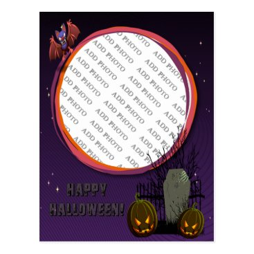 Halloween Themed Bat, Jack o' Lanterns, Tombstone, Add Photo Frame Postcard