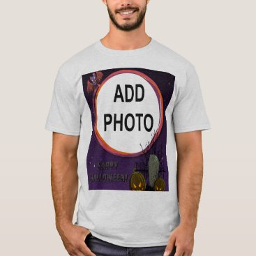 Halloween Themed Bat, Jack o' Lanterns, Tombstone, Add Photo Frame T-Shirt