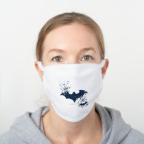 Bat Logo Bursting Into Bats White Cotton Face Mask