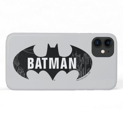 Bat Logo With Gotham Etching iPhone 11 Case