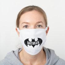 Bat Logo With Gotham Etching White Cotton Face Mask