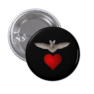 Bat love Grey Bat with Red Heart on Black Pinback Button