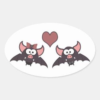 Bat love oval sticker