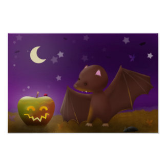 Bat loves Halloween night - poster print