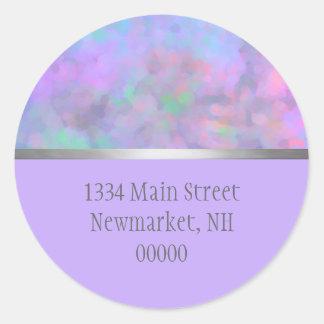 Bat Mitzvah Abstract Design in Purple Classic Round Sticker