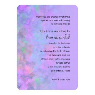 "Bat Mitzvah Abstract Design in Purple 5"" X 7"" Invitation Card"