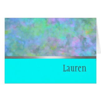 Bat Mitzvah Abstract Design in Turquoise Greeting Cards