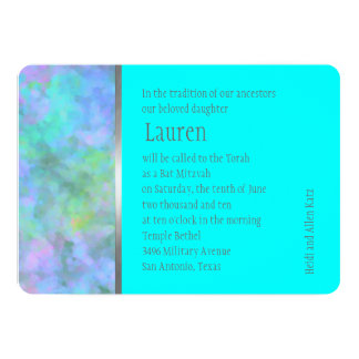 """Bat Mitzvah Abstract Design in Turquoise 5"""" X 7"""" Invitation Card"""