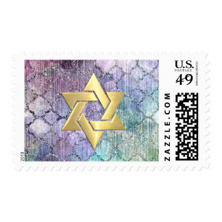 Bat Mitzvah Abstract Shimmery Pastel Pattern Postage