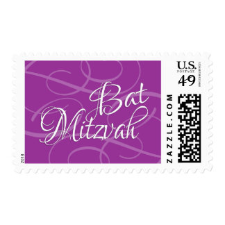 Bat Mitzvah Any Color with Swashes Postage Stamp