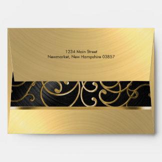 Bat Mitzvah Black and Gold Filigree Swirls Envelopes