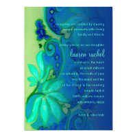 Bat Mitzvah Blue and Aqua Floral Card