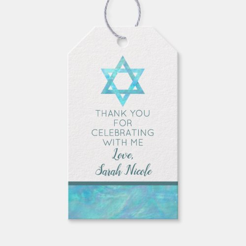 Bat Mitzvah Blue Opal Magen David Thank You Gift Tags