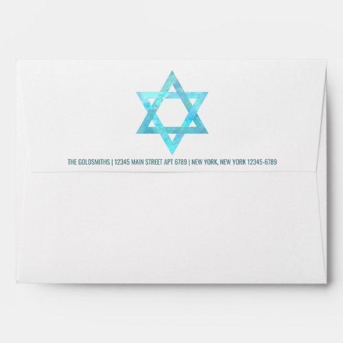 Bat Mitzvah Blue Opal Star Of David Address Envelope