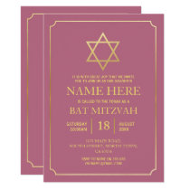 Bat Mitzvah Blush Jewish Invitation Girl Star Gold