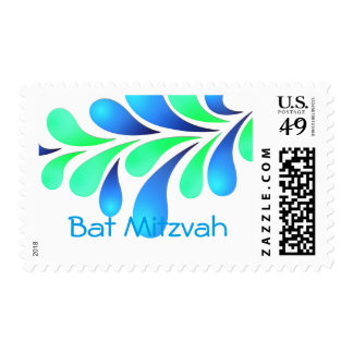 Bat Mitzvah Bold Plume Blue Green on Any Color Postage