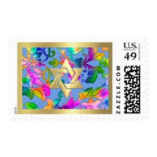 Bat Mitzvah Brightly Colored Painted Damask Postage Stamp