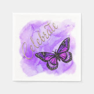 Bat Mitzvah Butterfly Purple and Pink Painted Napkin