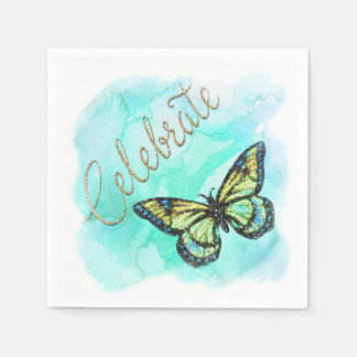 Bat Mitzvah Butterfly Turquoise Watercolor Painted Paper Napkin