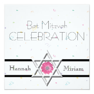 Bat Mitzvah Celebration-Star of David+Confetti Card