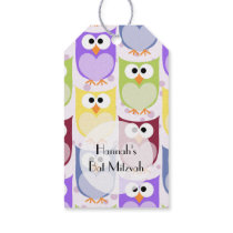 Bat Mitzvah - Colorful Owls - Green Blue Purple Gift Tags