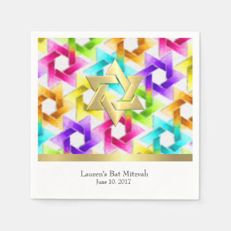 Bat Mitzvah Colorful Star Damask Napkin