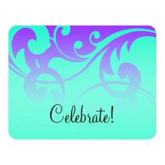 Bat Mitzvah Contemporary Swirls Purple Aqua Invite