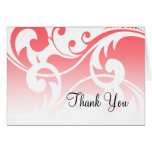 Bat Mitzvah Coral Pink White Contemporary Swirls Stationery Note Card