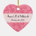 Bat Mitzvah - Curly Swirls (Curved Swirls) - Pink Christmas Ornament
