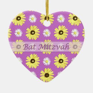 Bat Mitzvah Daisies Radiant Orchid Heart Ornament