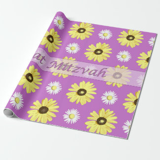 Bat Mitzvah Daisies Radiant Orchid Wrap Paper Gift Wrapping Paper