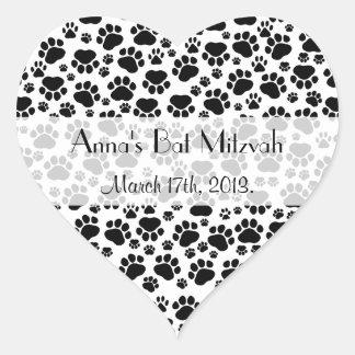 Bat Mitzvah - Dog Paws, Paw-prints - Black White Heart Sticker