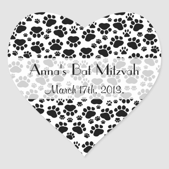 Bat mitzvah dog paws paw prints black white heart sticker