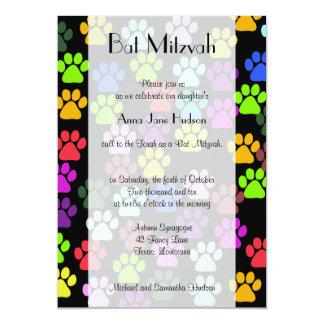 Bat Mitzvah - Dog Paws, Paw-prints - Blue Green Card
