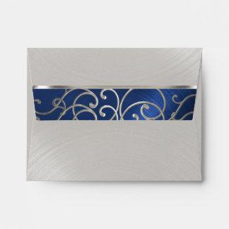 Bat Mitzvah Elegant Blue and Silver Filigree Envelopes